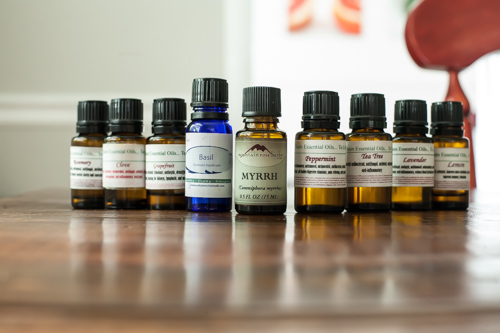 Different brands of essential oils